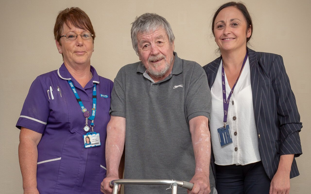 Carers with patient at hospital