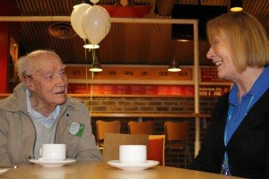Cyril Pace (94) with AUKS Hospital Discharge Team worker June Hourigan